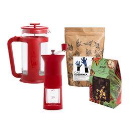 kit_Moedor-manual-Bialetti-Vermelho_Prensa-Francesa-Smart-Vermelha-1L_Cafe-SM-Roseirinha_Quebra-Quebra-Cupuacu